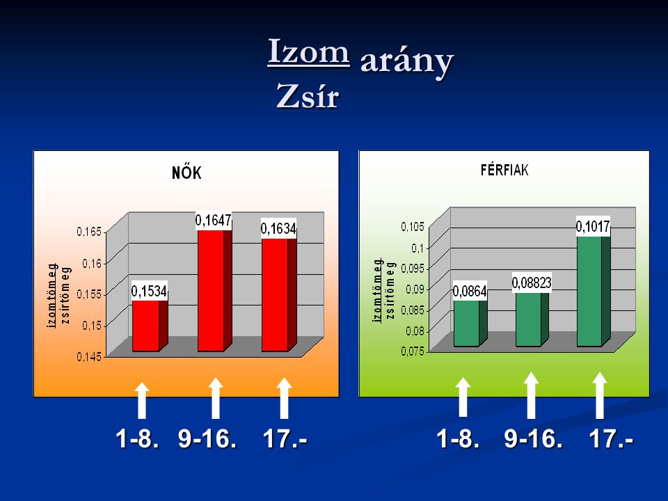 Izom arány Zsír 1-8. 9-16. 17.- 1-8. 9-16. 17.-