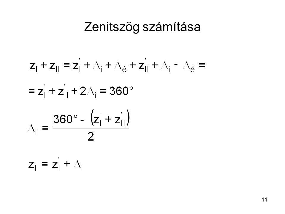 Zenitszög számítása - -