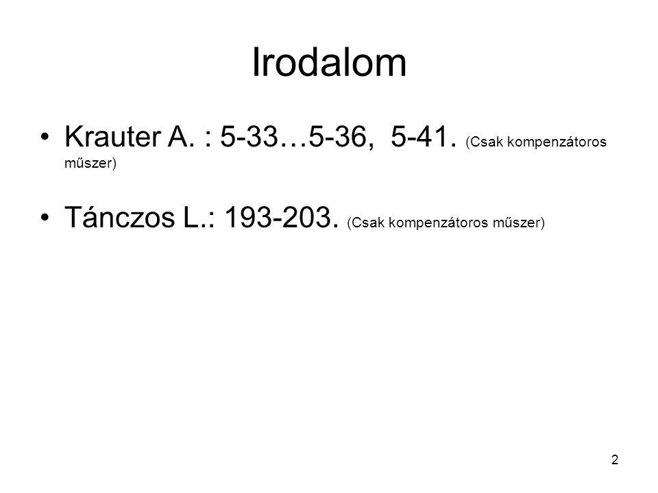 Irodalom Krauter A. : 5-33…5-36, 5-41. (Csak kompenzátoros műszer)