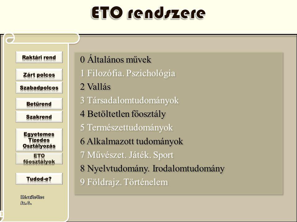 ETO rendszere 0 Általános művek 1 Filozófia. Pszichológia 2 Vallás