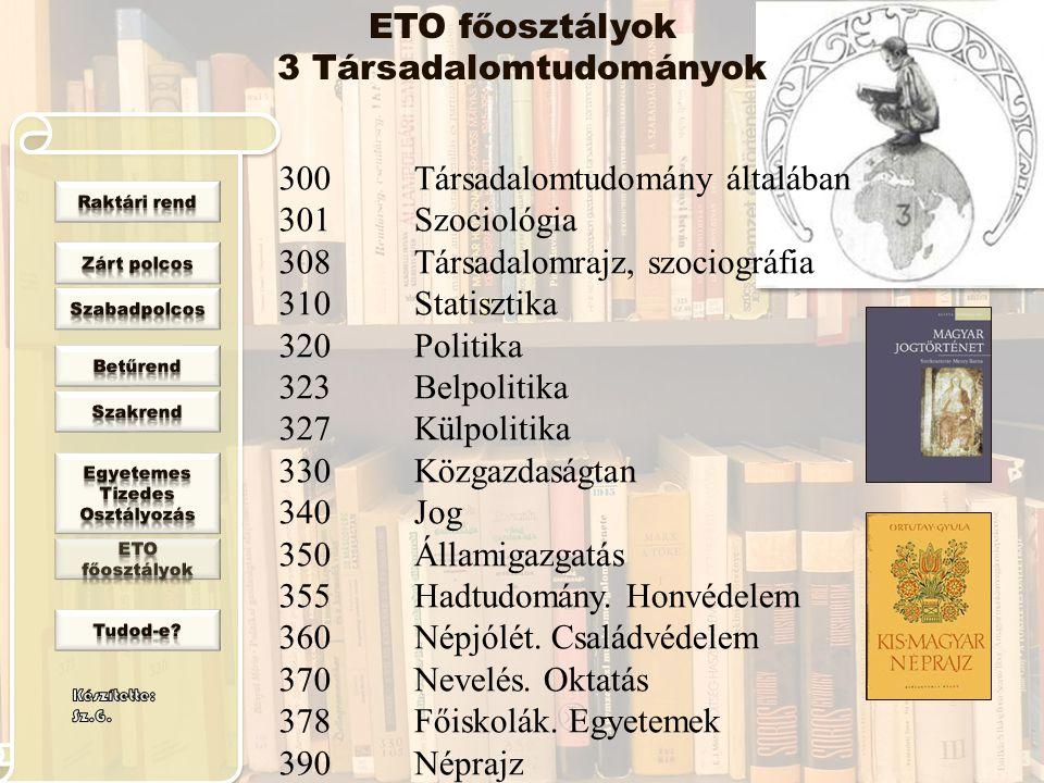 ETO főosztályok 3 Társadalomtudományok