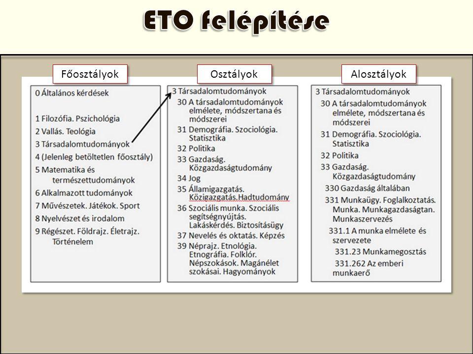 ETO felépítése Főosztályok Osztályok Alosztályok Az ETO előnyei: