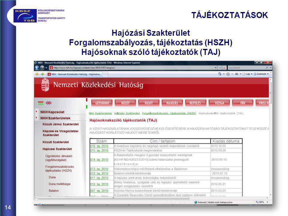 TÁJÉKOZTATÁSOK Hajózási Szakterület Forgalomszabályozás, tájékoztatás (HSZH) Hajósoknak szóló tájékoztatók (TAJ)
