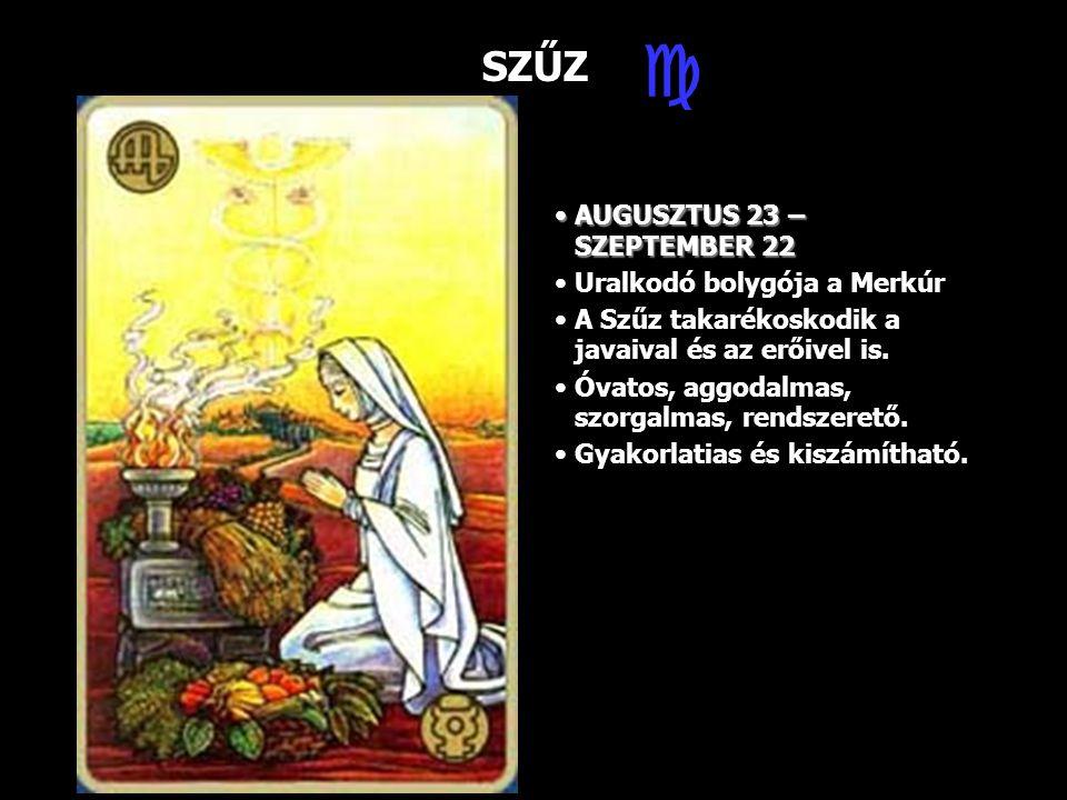  SZŰZ AUGUSZTUS 23 – SZEPTEMBER 22 Uralkodó bolygója a Merkúr
