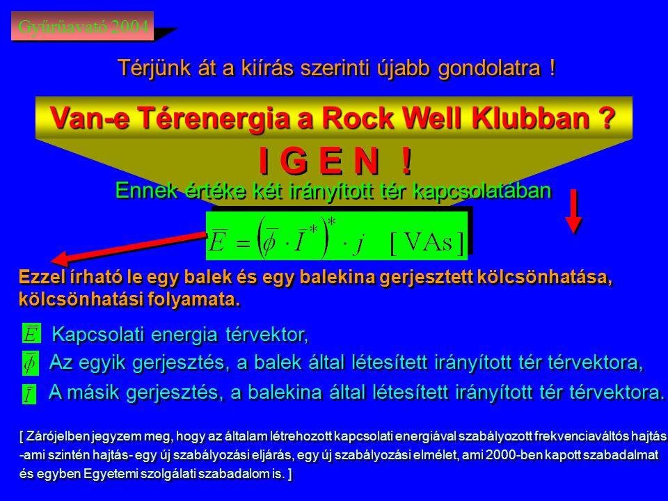 I G E N ! Van-e Térenergia a Rock Well Klubban