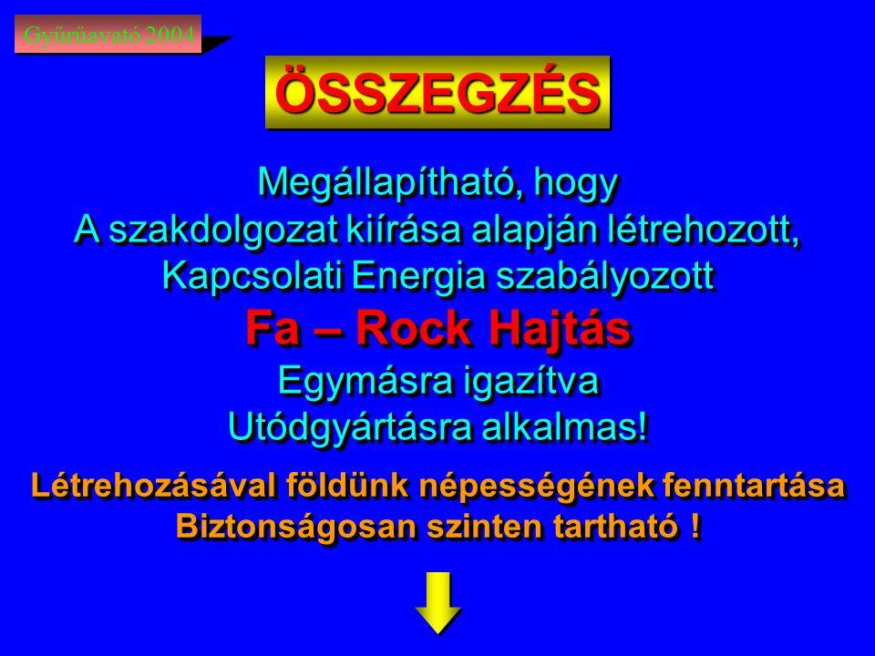 ÖSSZEGZÉS Fa – Rock Hajtás Megállapítható, hogy