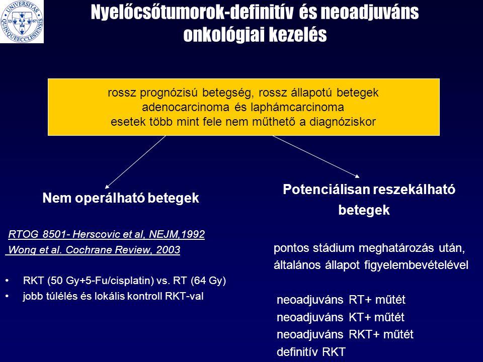 Nyelőcsőtumorok-definitív és neoadjuváns onkológiai kezelés