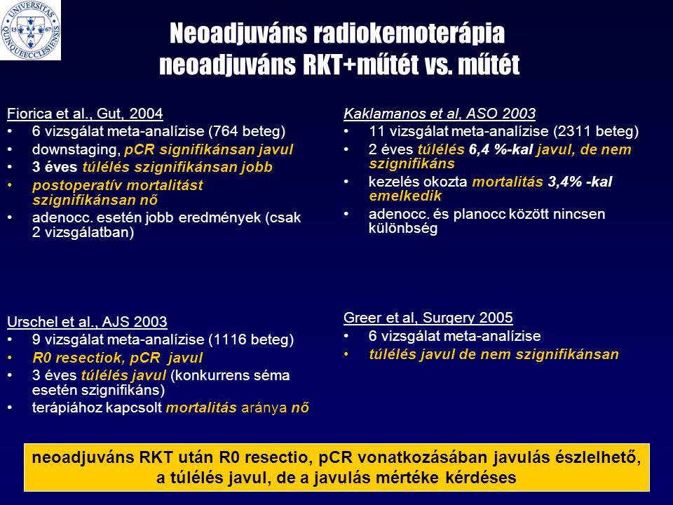 Neoadjuváns radiokemoterápia neoadjuváns RKT+műtét vs. műtét