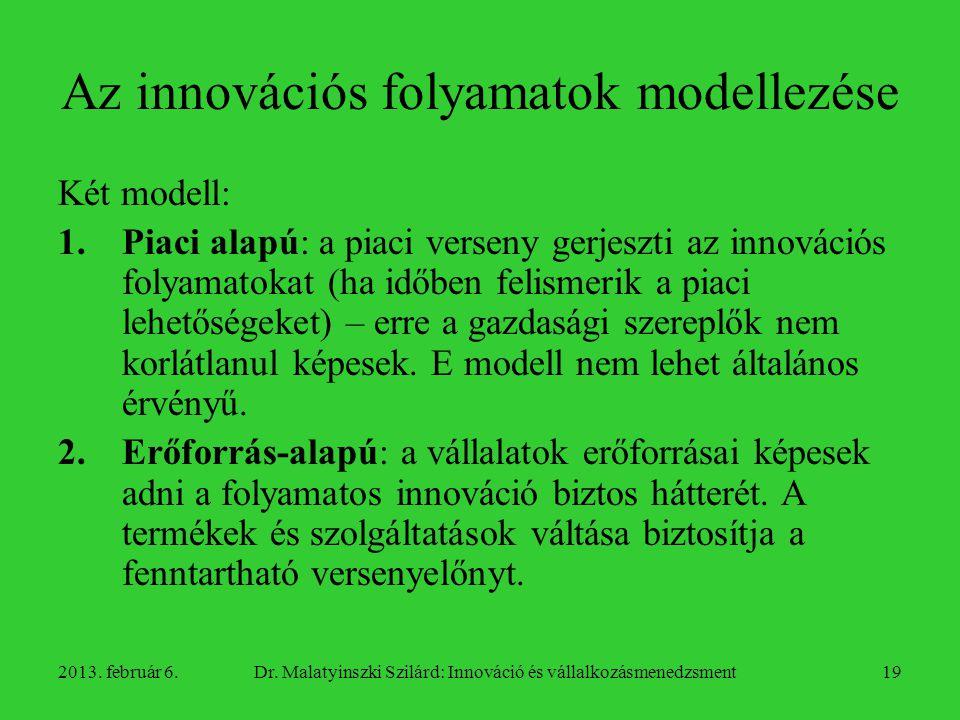 Az innovációs folyamatok modellezése