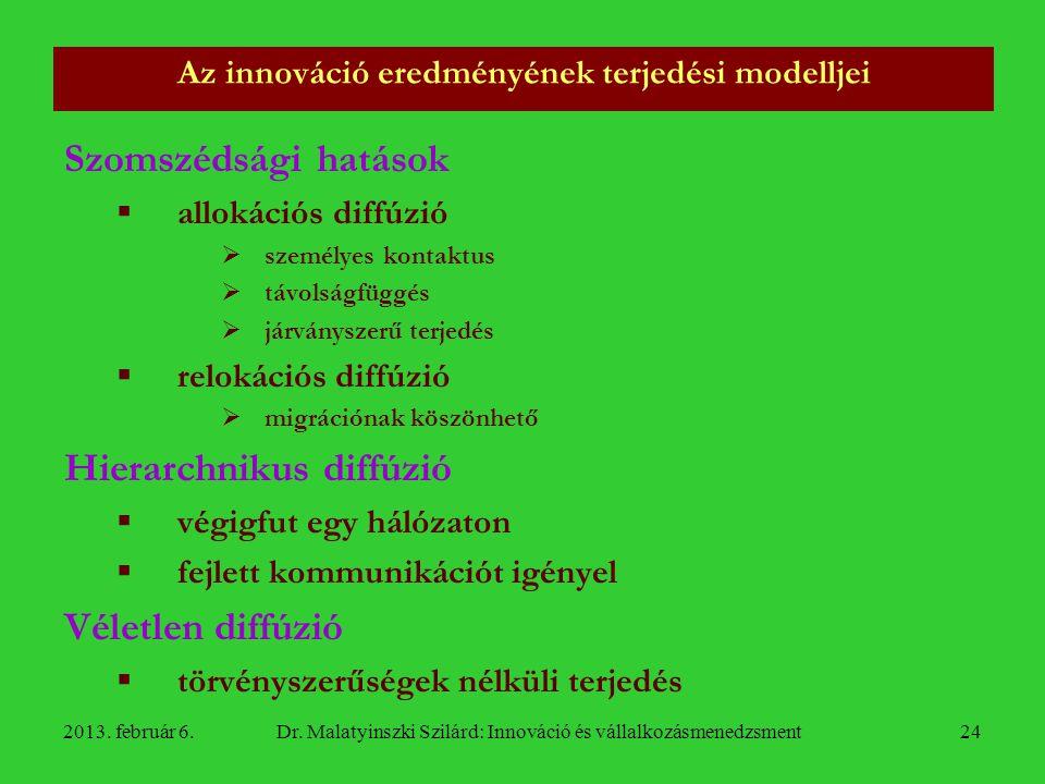 Az innováció eredményének terjedési modelljei