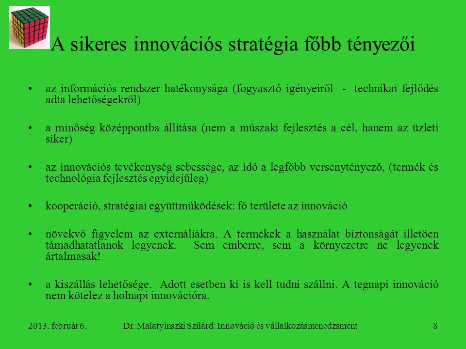 A sikeres innovációs stratégia főbb tényezői