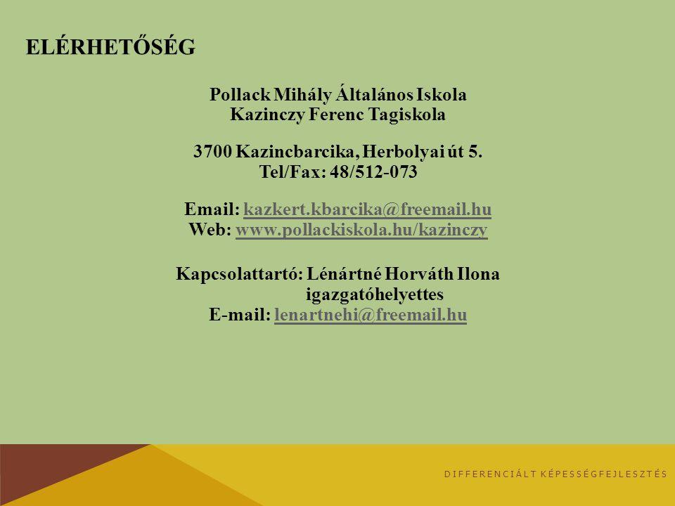 Elérhetőség Pollack Mihály Általános Iskola Kazinczy Ferenc Tagiskola