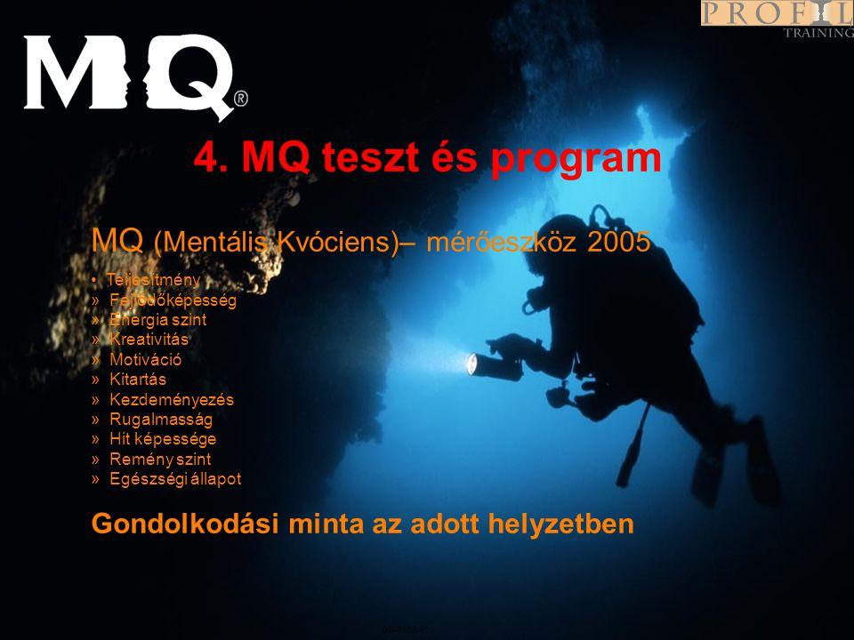 4. MQ teszt és program MQ (Mentális Kvóciens)– mérőeszköz 2005 Program