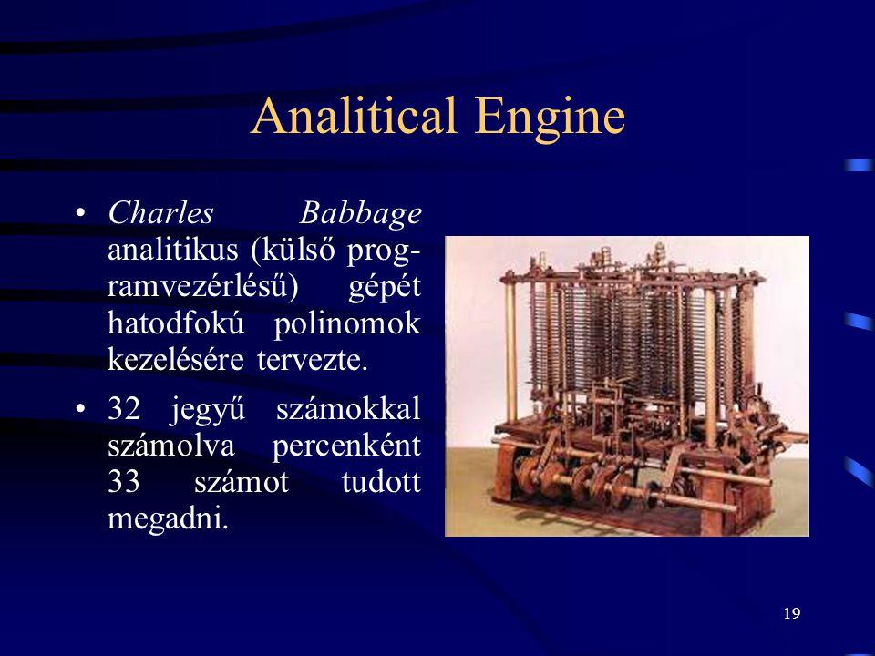 Analitical Engine Charles Babbage analitikus (külső prog- ramvezérlésű) gépét hatodfokú polinomok kezelésére tervezte.
