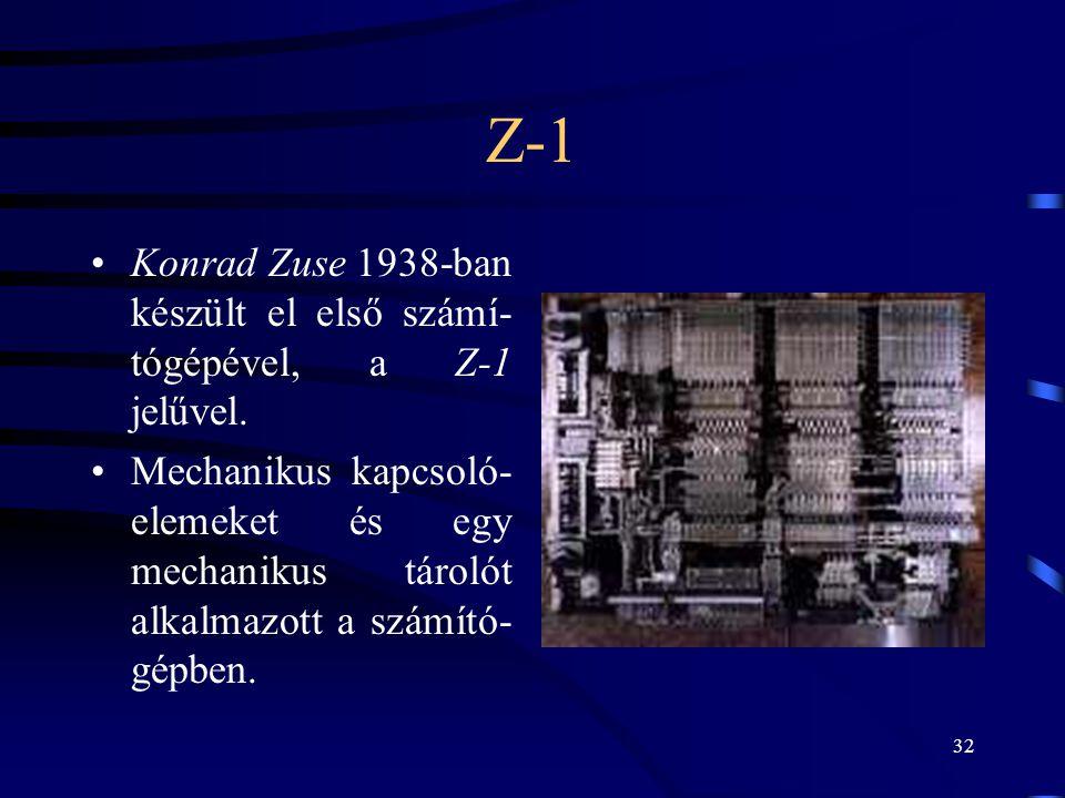 Z-1 Konrad Zuse 1938-ban készült el első számí-tógépével, a Z-1 jelűvel.
