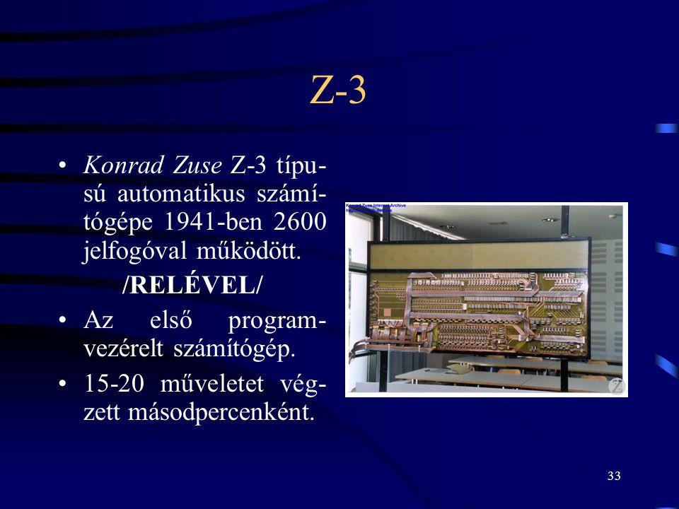 Z-3 Konrad Zuse Z-3 típu-sú automatikus számí-tógépe 1941-ben 2600 jelfogóval működött. /RELÉVEL/ Az első program-vezérelt számítógép.