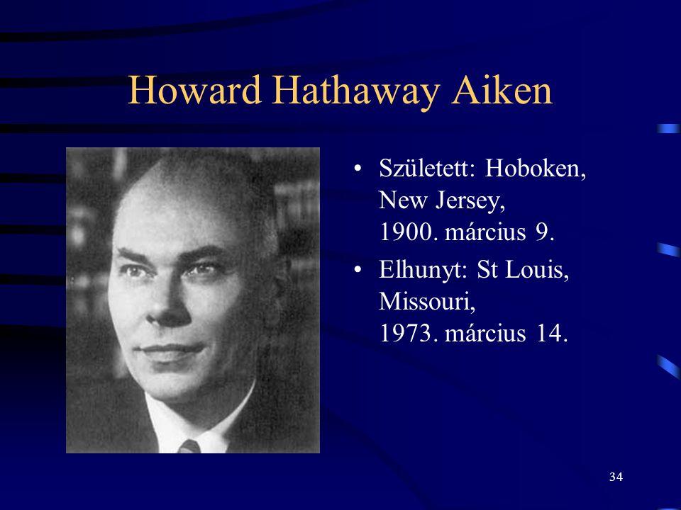 Howard Hathaway Aiken Született: Hoboken, New Jersey, 1900. március 9.