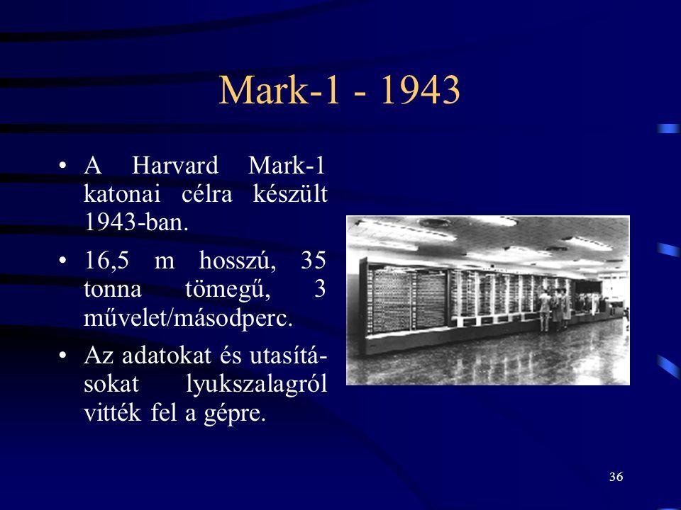 Mark-1 - 1943 A Harvard Mark-1 katonai célra készült 1943-ban.