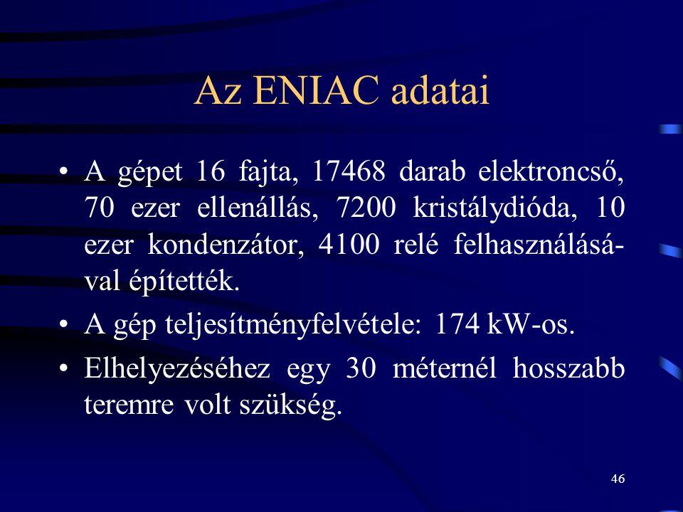 Az ENIAC adatai