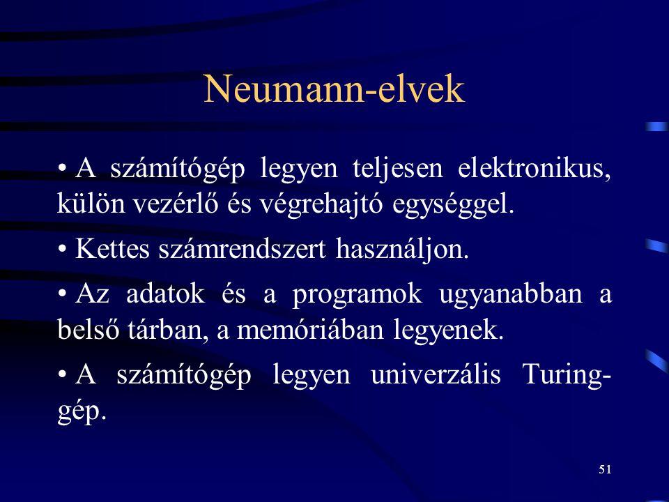 Neumann-elvek A számítógép legyen teljesen elektronikus, külön vezérlő és végrehajtó egységgel. Kettes számrendszert használjon.