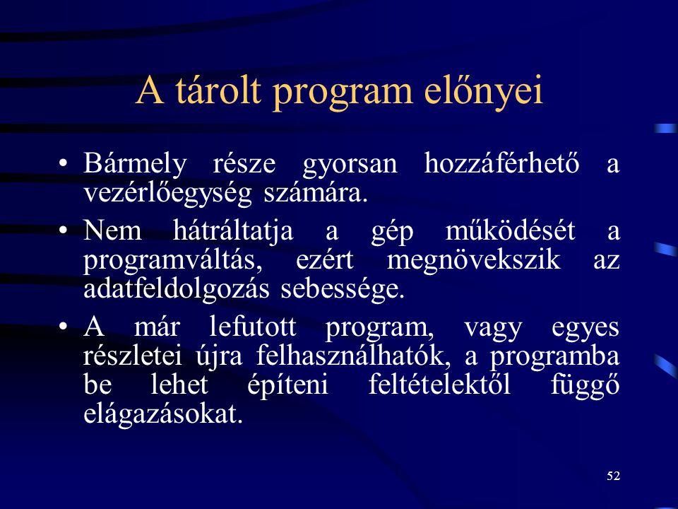 A tárolt program előnyei