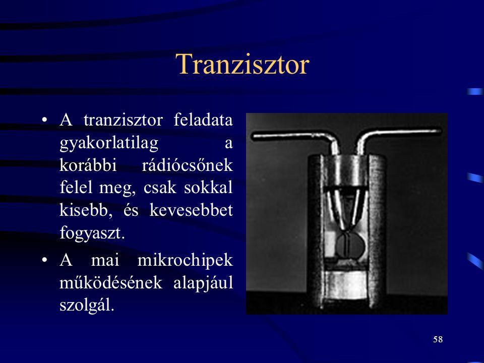 Tranzisztor A tranzisztor feladata gyakorlatilag a korábbi rádiócsőnek felel meg, csak sokkal kisebb, és kevesebbet fogyaszt.