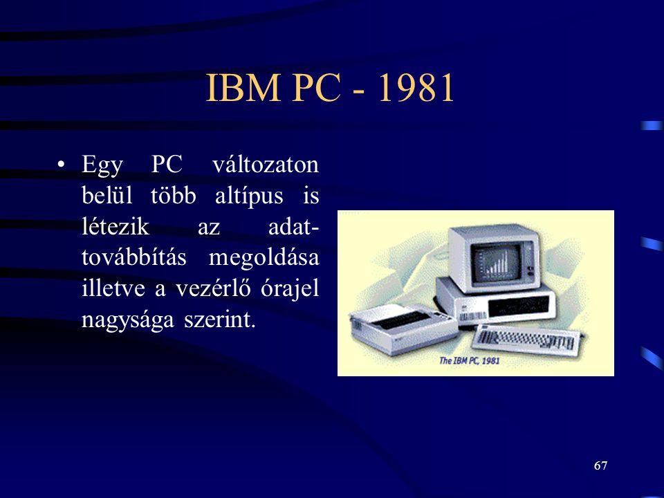 IBM PC - 1981 Egy PC változaton belül több altípus is létezik az adat- továbbítás megoldása illetve a vezérlő órajel nagysága szerint.
