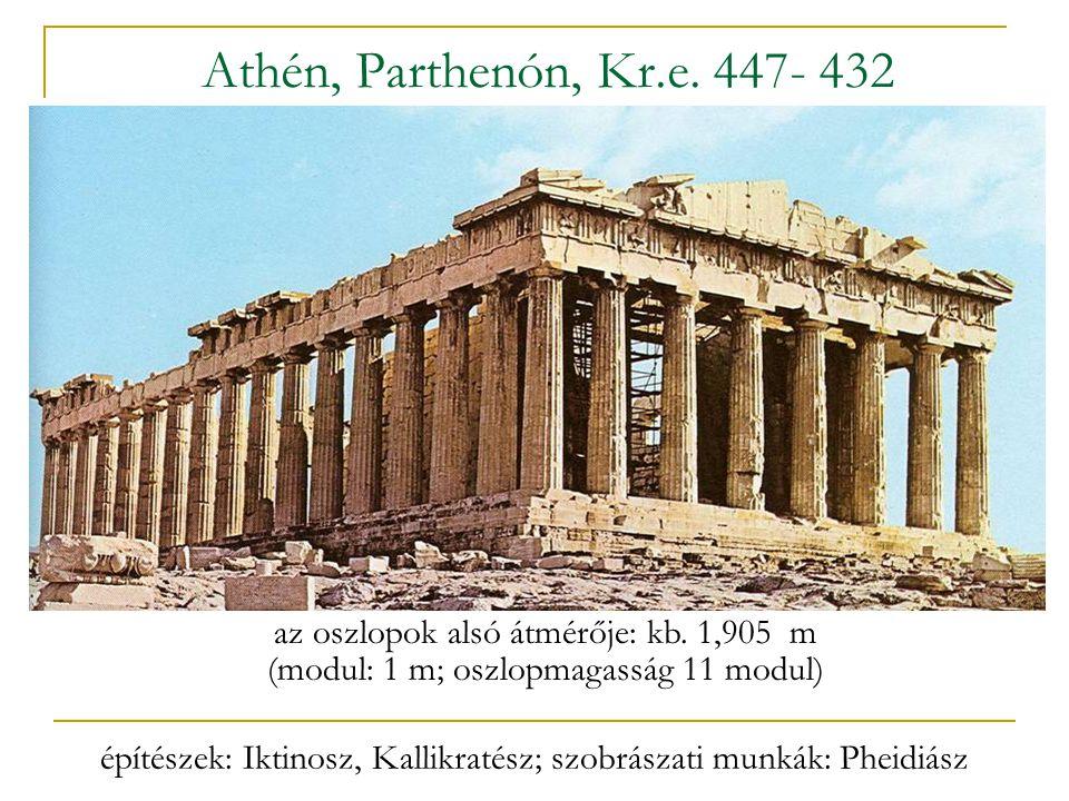 Athén, Parthenón, Kr.e. 447- 432 az oszlopok alsó átmérője: kb. 1,905 m. (modul: 1 m; oszlopmagasság 11 modul)
