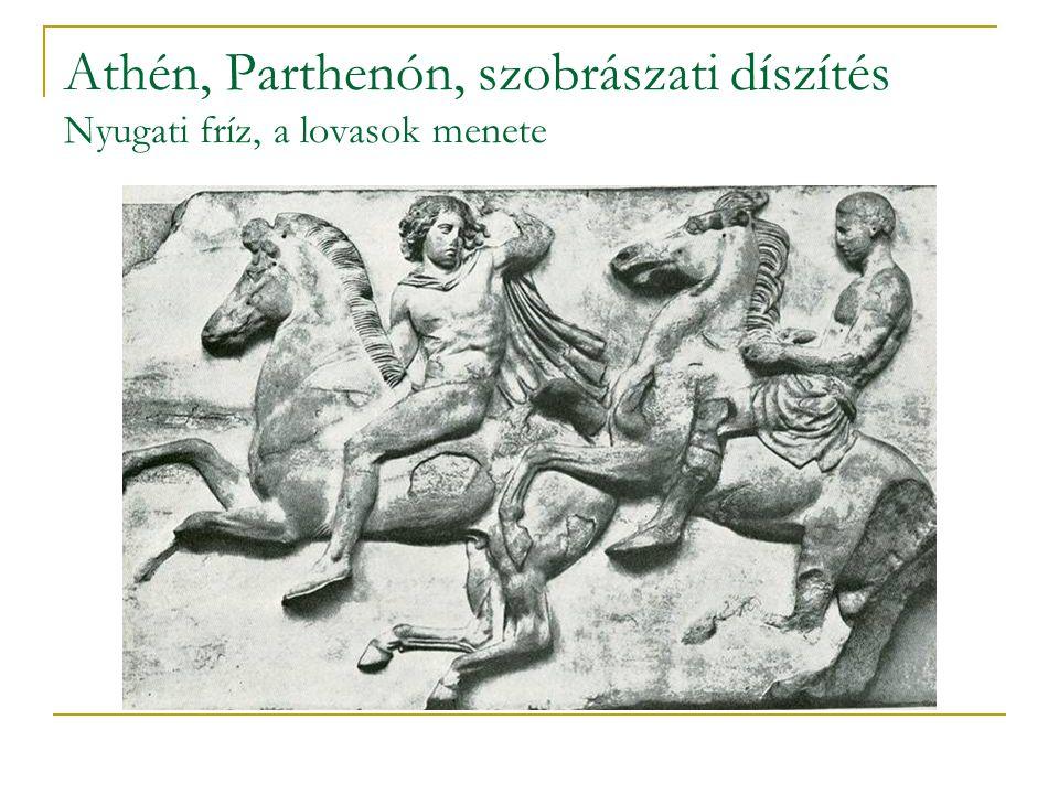 Athén, Parthenón, szobrászati díszítés Nyugati fríz, a lovasok menete