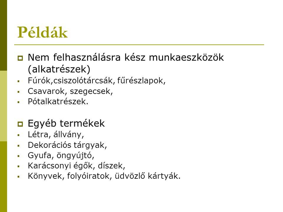 Példák Nem felhasználásra kész munkaeszközök (alkatrészek)
