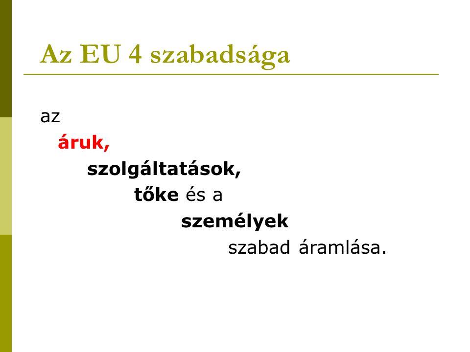 Az EU 4 szabadsága az áruk, szolgáltatások, tőke és a személyek