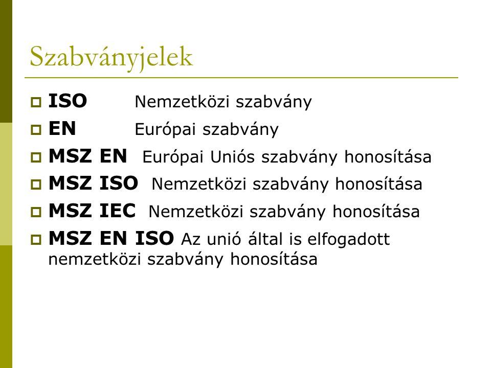 Szabványjelek ISO Nemzetközi szabvány EN Európai szabvány