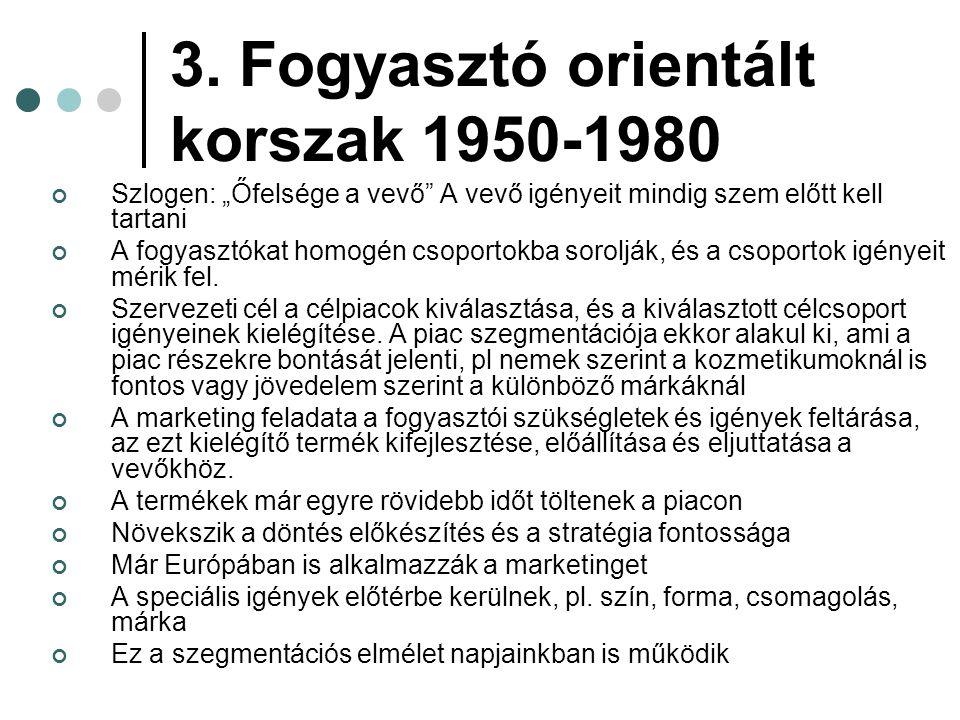 3. Fogyasztó orientált korszak 1950-1980