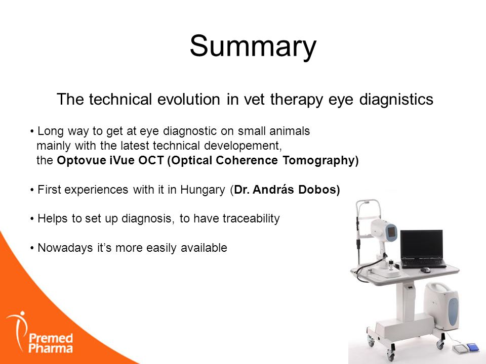Summary The technical evolution in vet therapy eye diagnistics