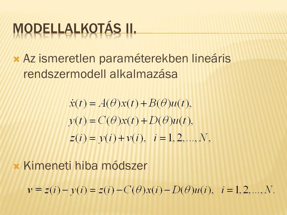 Modellalkotás II. Az ismeretlen paraméterekben lineáris rendszermodell alkalmazása. Kimeneti hiba módszer.