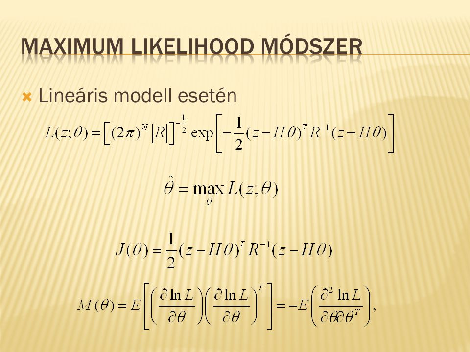 Maximum Likelihood módszer