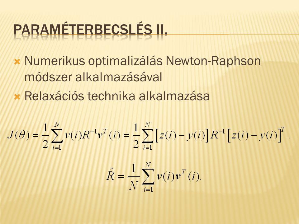 Paraméterbecslés II. Numerikus optimalizálás Newton-Raphson módszer alkalmazásával. Relaxációs technika alkalmazása.