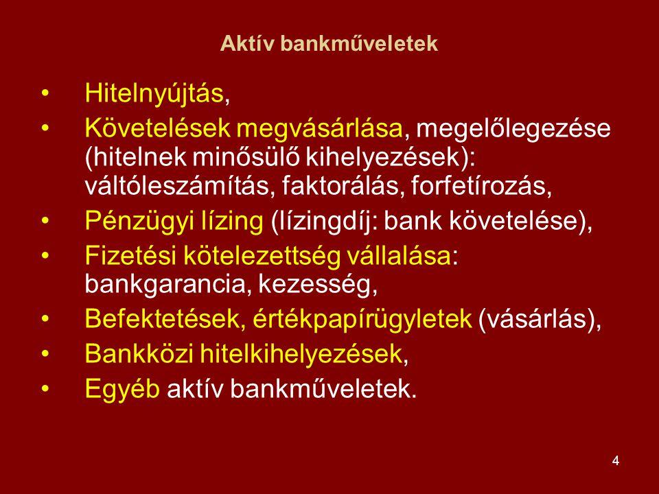 Pénzügyi lízing (lízingdíj: bank követelése),