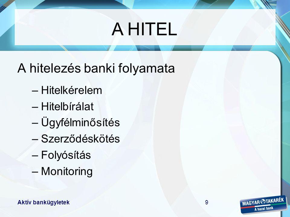 A HITEL A hitelezés banki folyamata Hitelkérelem Hitelbírálat
