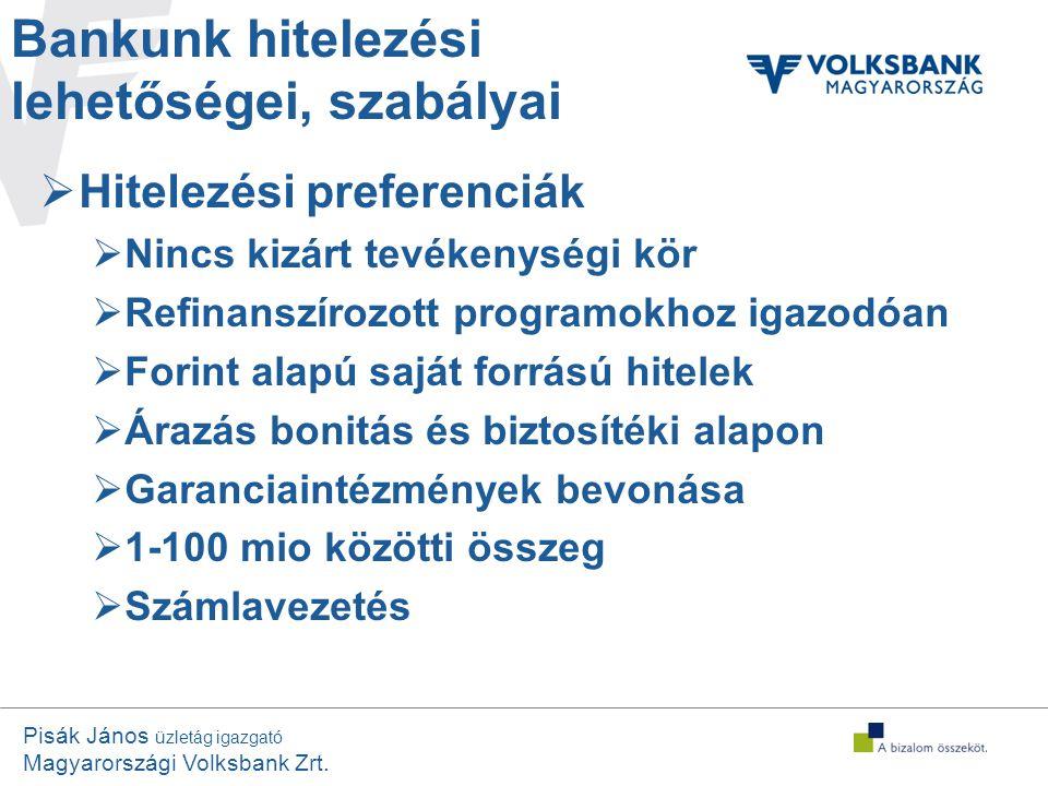 Bankunk hitelezési lehetőségei, szabályai
