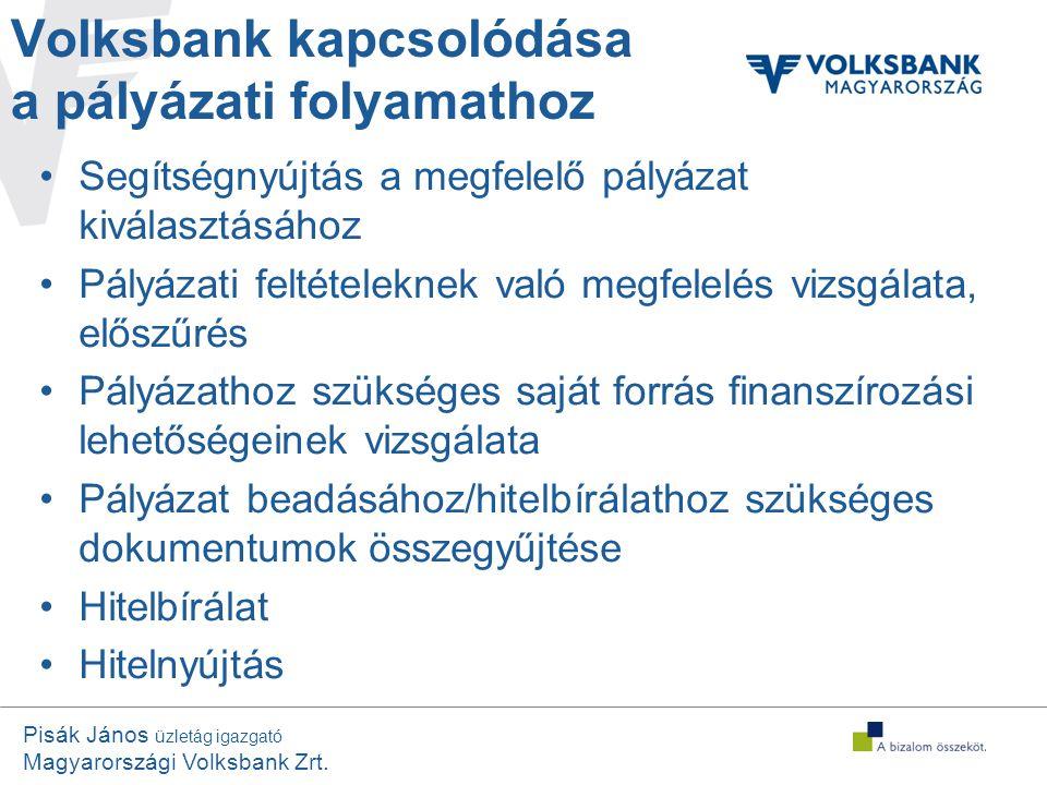 Volksbank kapcsolódása a pályázati folyamathoz