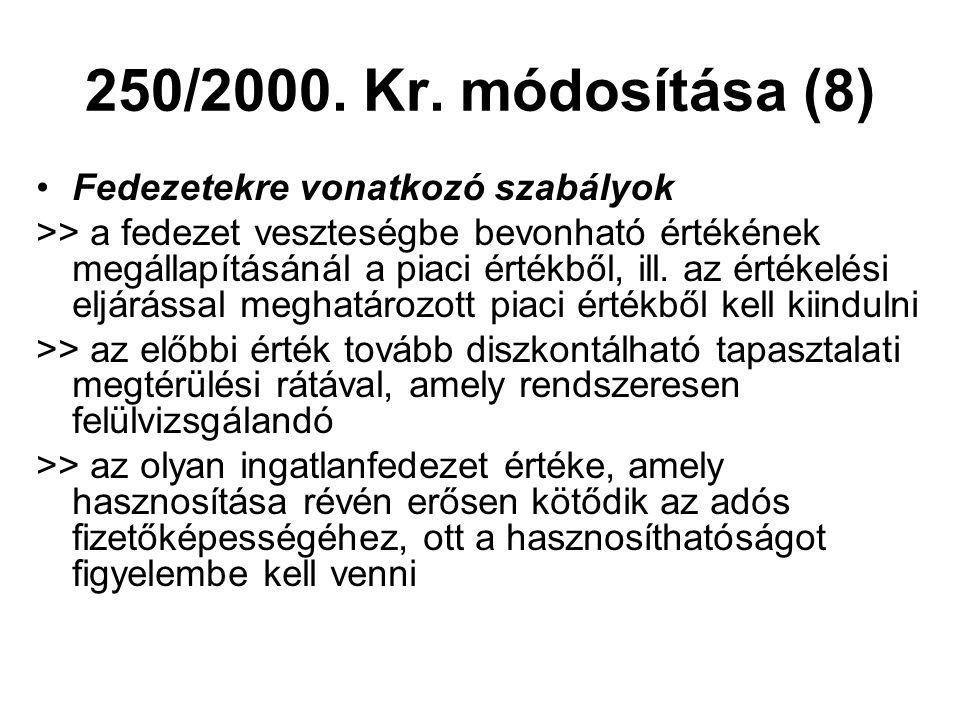 250/2000. Kr. módosítása (8) Fedezetekre vonatkozó szabályok
