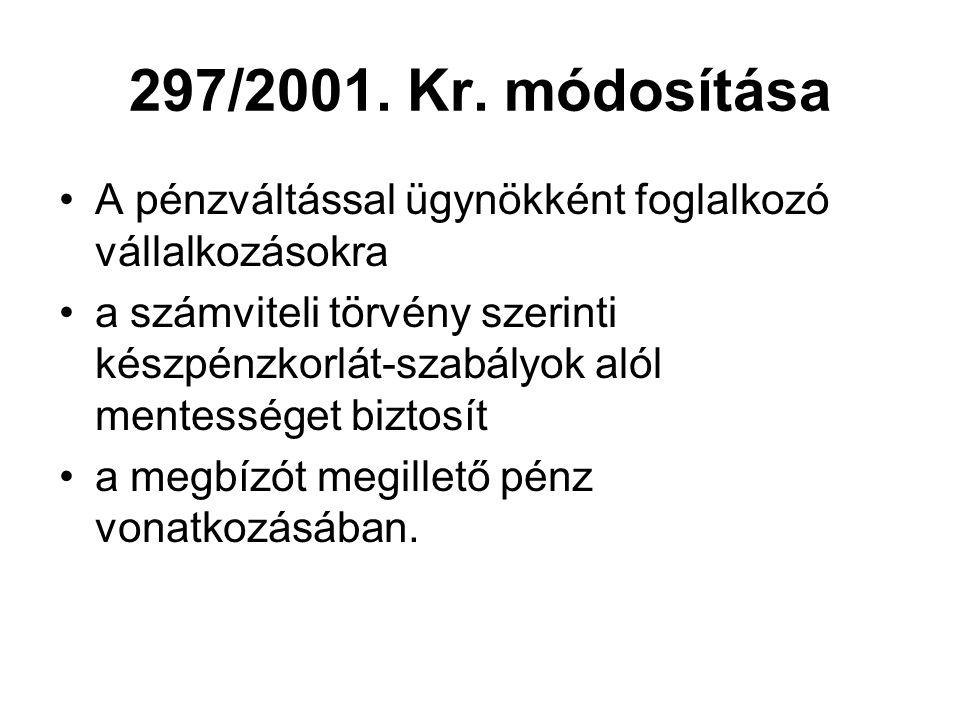 297/2001. Kr. módosítása A pénzváltással ügynökként foglalkozó vállalkozásokra.