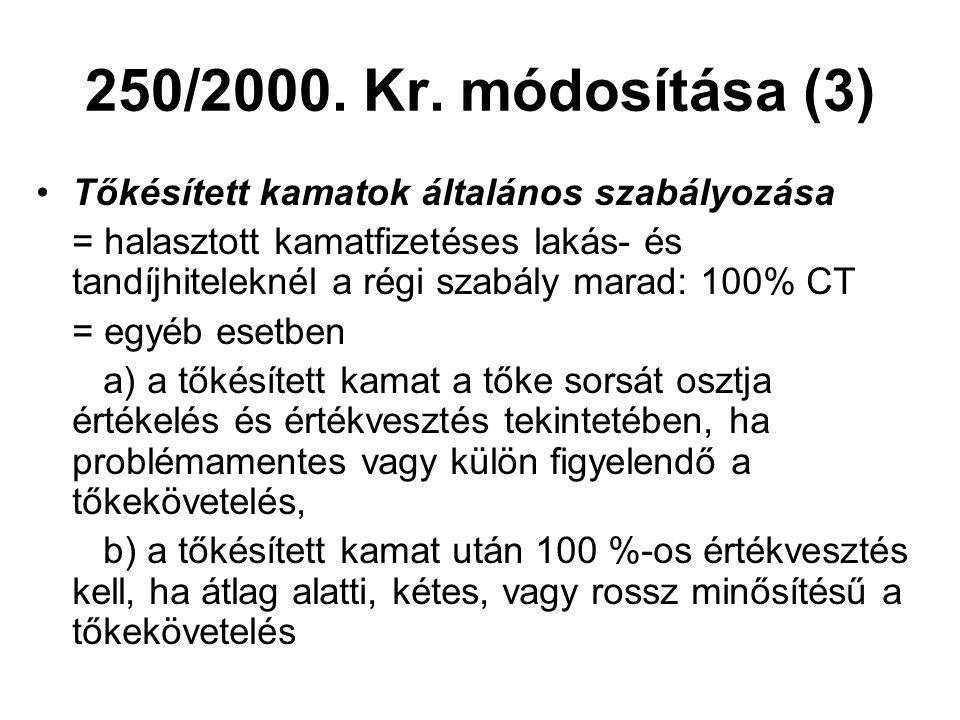 250/2000. Kr. módosítása (3) Tőkésített kamatok általános szabályozása