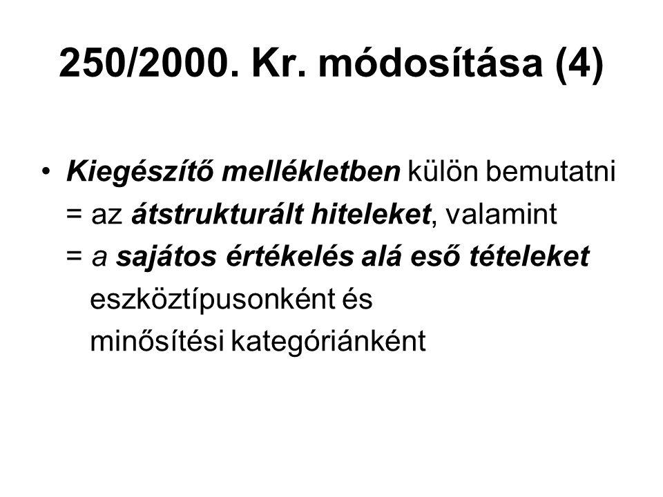 250/2000. Kr. módosítása (4) Kiegészítő mellékletben külön bemutatni