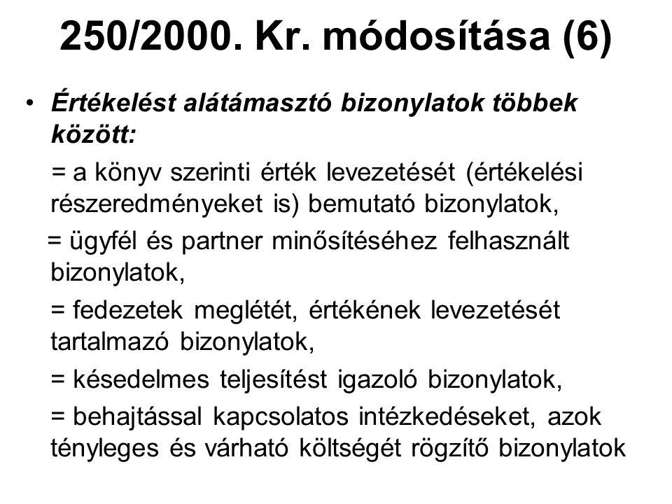 250/2000. Kr. módosítása (6) Értékelést alátámasztó bizonylatok többek között: