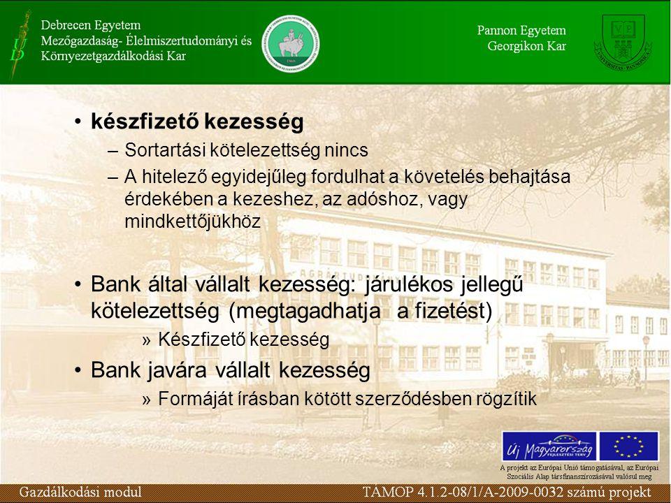 Bank javára vállalt kezesség
