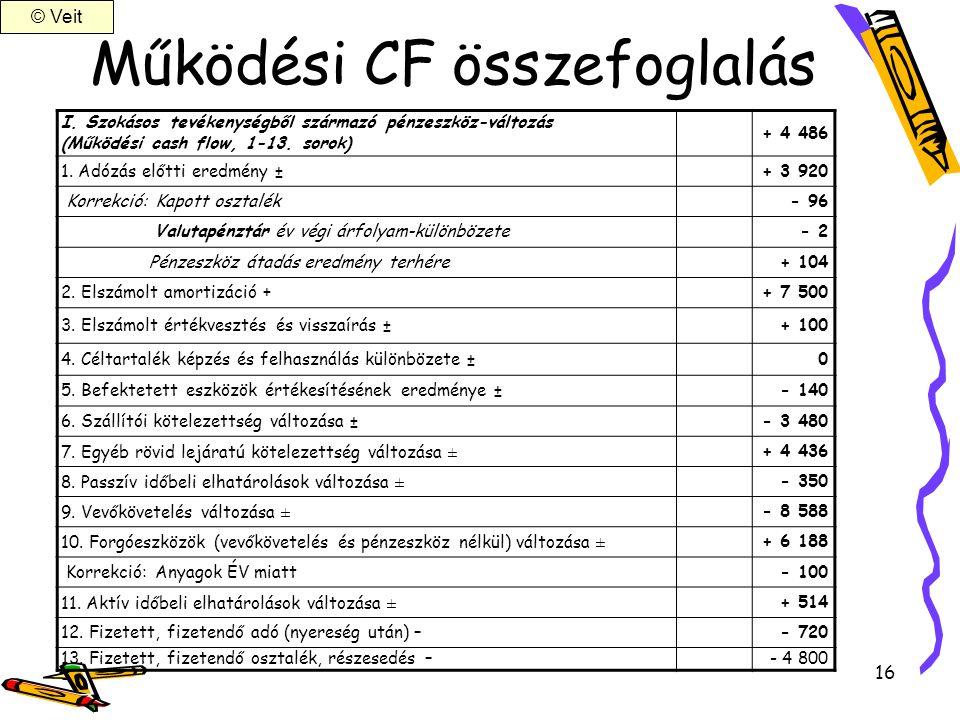 Működési CF összefoglalás