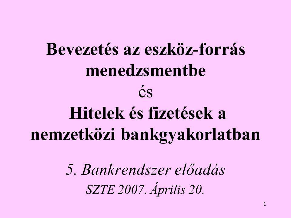 5. Bankrendszer előadás SZTE 2007. Április 20.