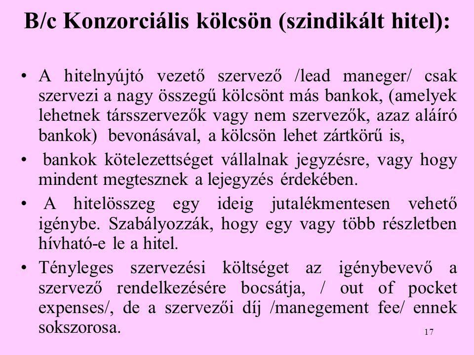B/c Konzorciális kölcsön (szindikált hitel):